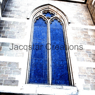 Arched window in Church in Melbourne, Australia