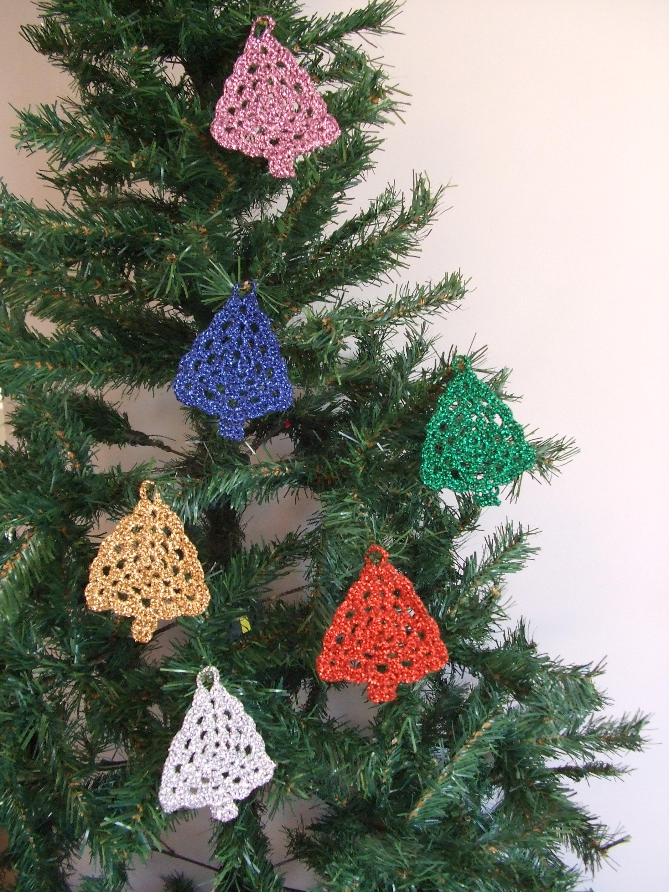 Crochet Christmas Tree.Set Of 5 Metallic Crocheted Christmas Tree Decorations Handmade Hanging Ornaments