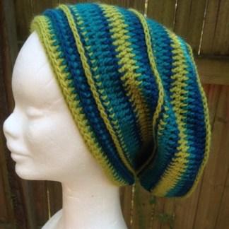 blue/green crochet slouchie beanie