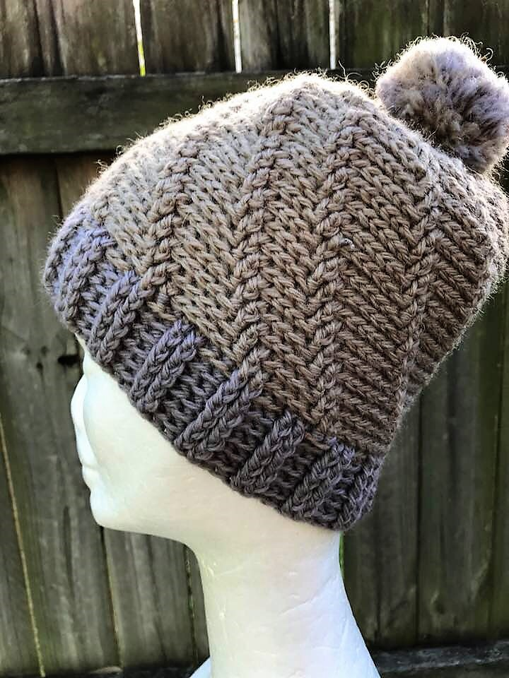 Unisex Crocheted Slouchy Beanie In Grey And Taupe With A Textured