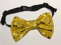 Doggy Bow Tie Yellow Paw and Bone