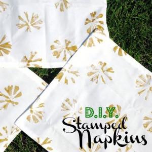 Hand Stamped Napkins DIY tutorial Jacquelynne Steves