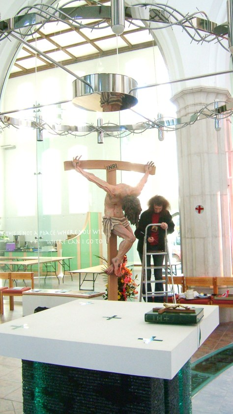 Jacquie painting the her Crucifixion Sculpture for St Peters, Plymouth