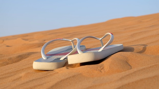 jandals on sand