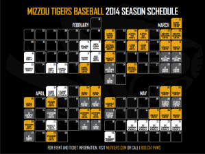 2014 Mizzou Tigers Baseball Season Schedule designed by JA Creative Group