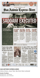 San Antonio Express News Saddam Execution award winning Front Page created and designed by JA Creative Group