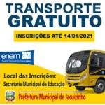 ENEM 2021: Inscrições para transporte gratuito estão abertas ate dia 14, quinta-feira.