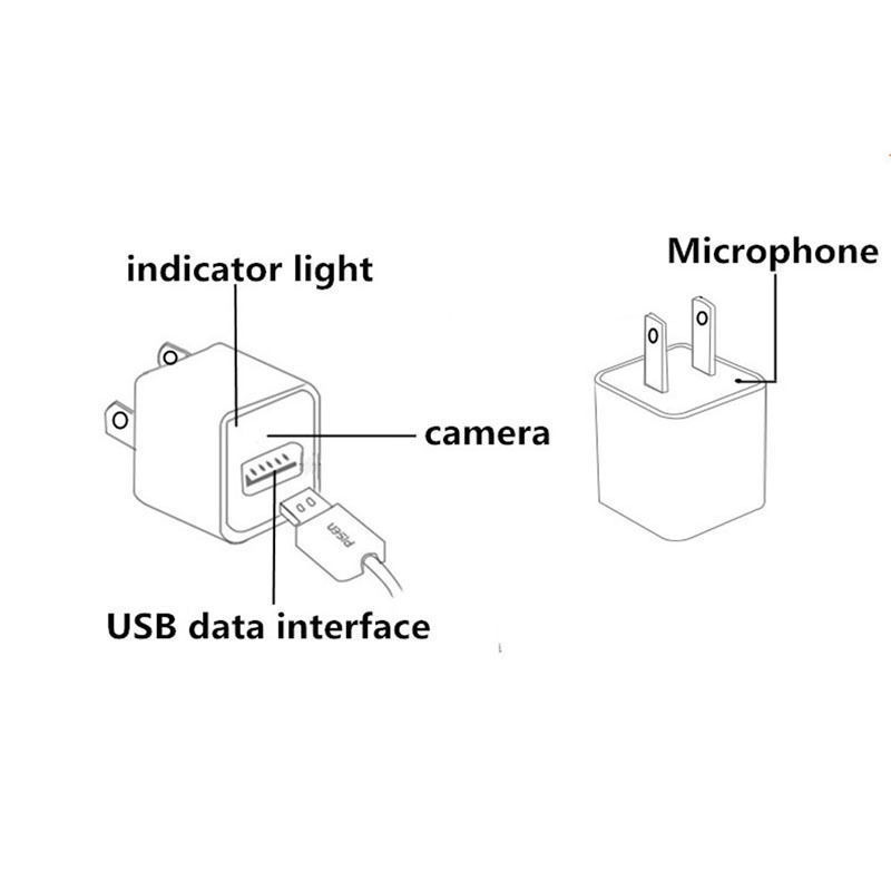 1080P USB Wall Charger AC Adapter Spy Hidden Camera Video