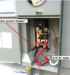 image 4 notice the two pole 30 amp breaker just under the main breaker that feeds an outdoor air conditioner since the se cable to the interior panel does  [ 1280 x 988 Pixel ]