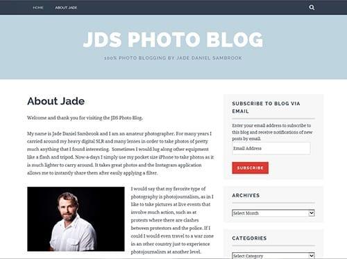 Screenshot of Jade Daniel Sambrook's photography blog: JDS Photo Blog