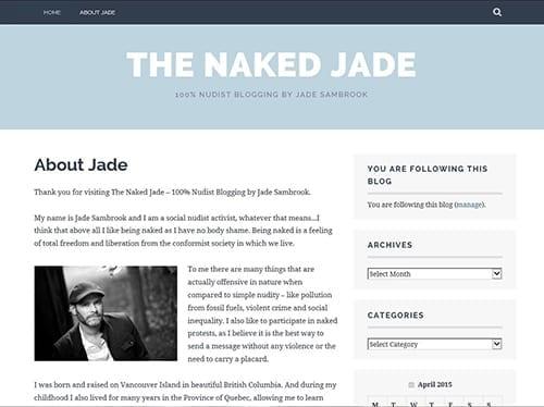Screenshot of Jade Sambrook's nudist lifestyle blog: The Naked Jade Blog