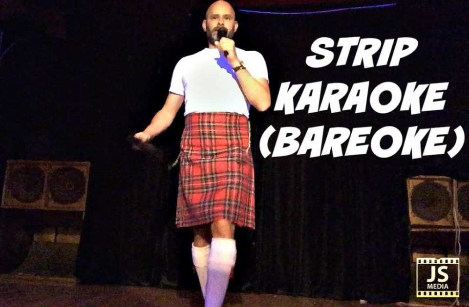 Jade Sambrook at Bareoke (Strip Karaoke) in a Kilt performing a striptease