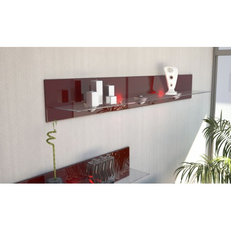 etagere design en bois et verre bordeaux avec led 146 cm