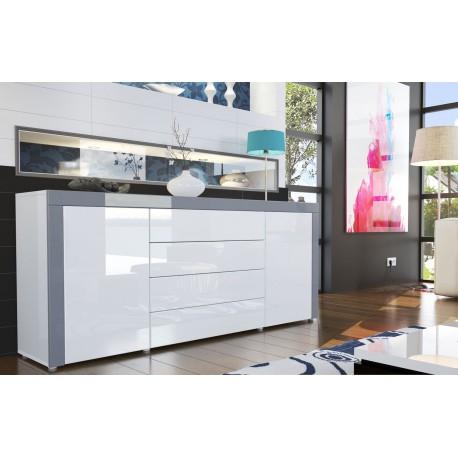 buffet design laque blanc blanc gris ja discount