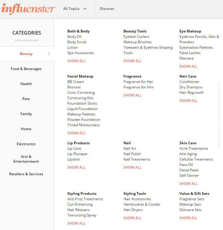 InfluensterDashboard-screengrab-12-ohjaechaos