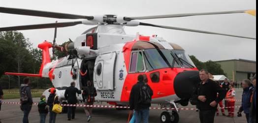 Det første av de nye redningshelikoptrene under Sola Air Show.