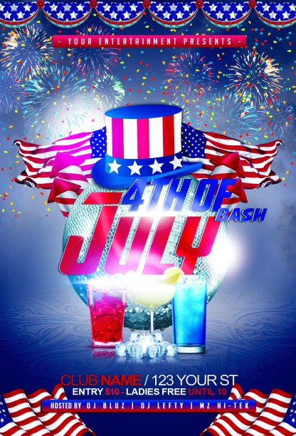 4th of July Bash Flyer Template is a fully Customizable PSD (Photoshop) flyer template, front only. You can easily move or substitute images, text and effects with your own content. All layers included. Edit in Photoshop yourself or add Flyer Template Editing for an extra charge.
