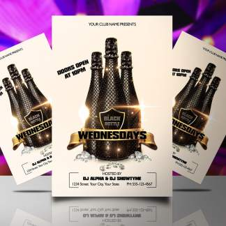 Black Bottle Wednesdays Flyer Template