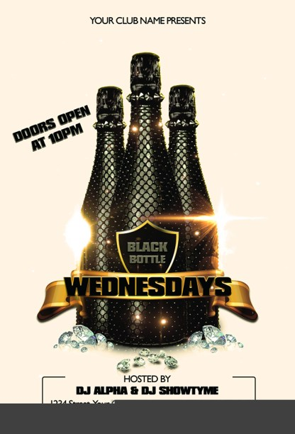 Black Bottle Wednesdays Flyer Template