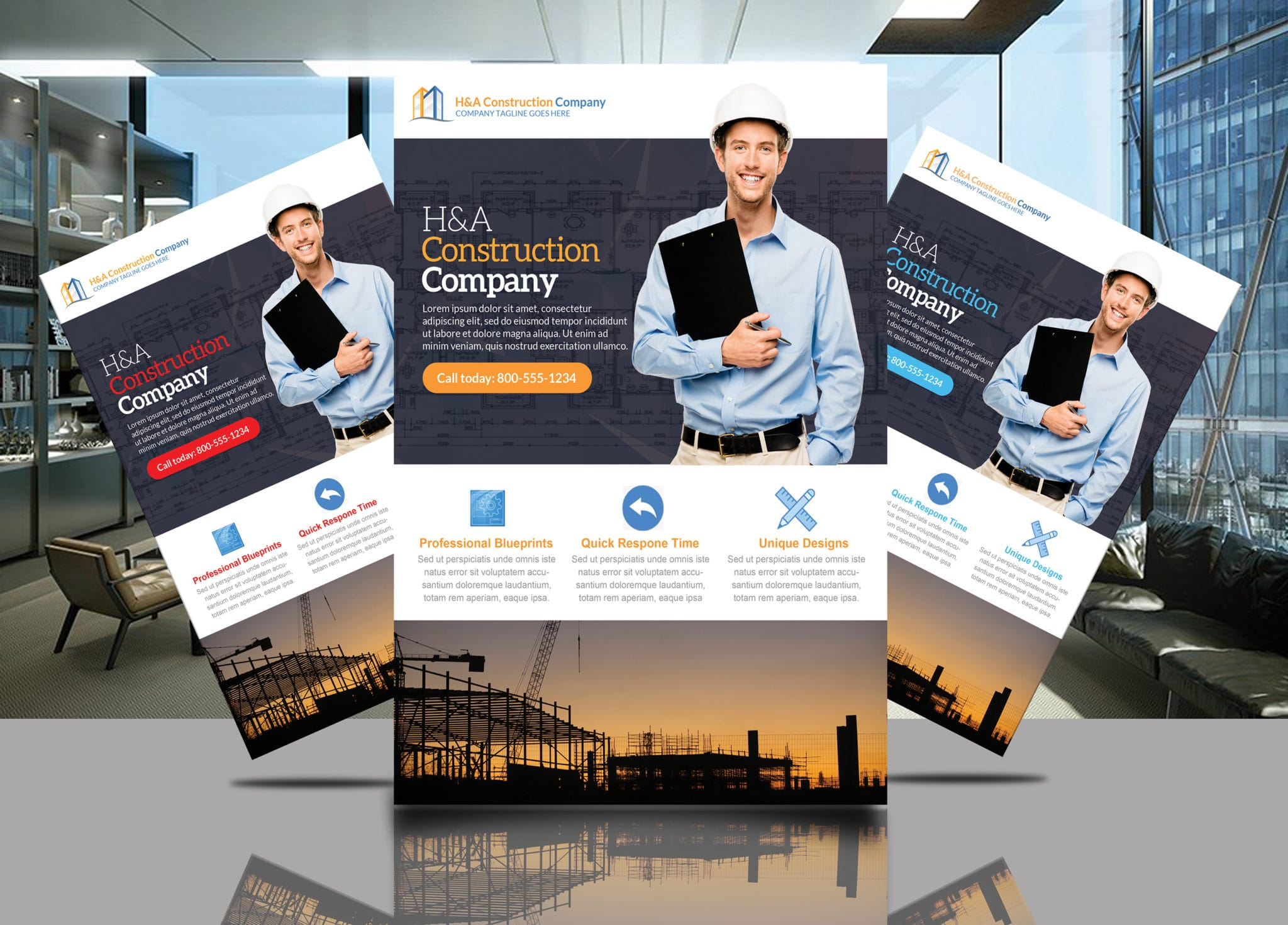 ha construction flyer template jaf creative studios
