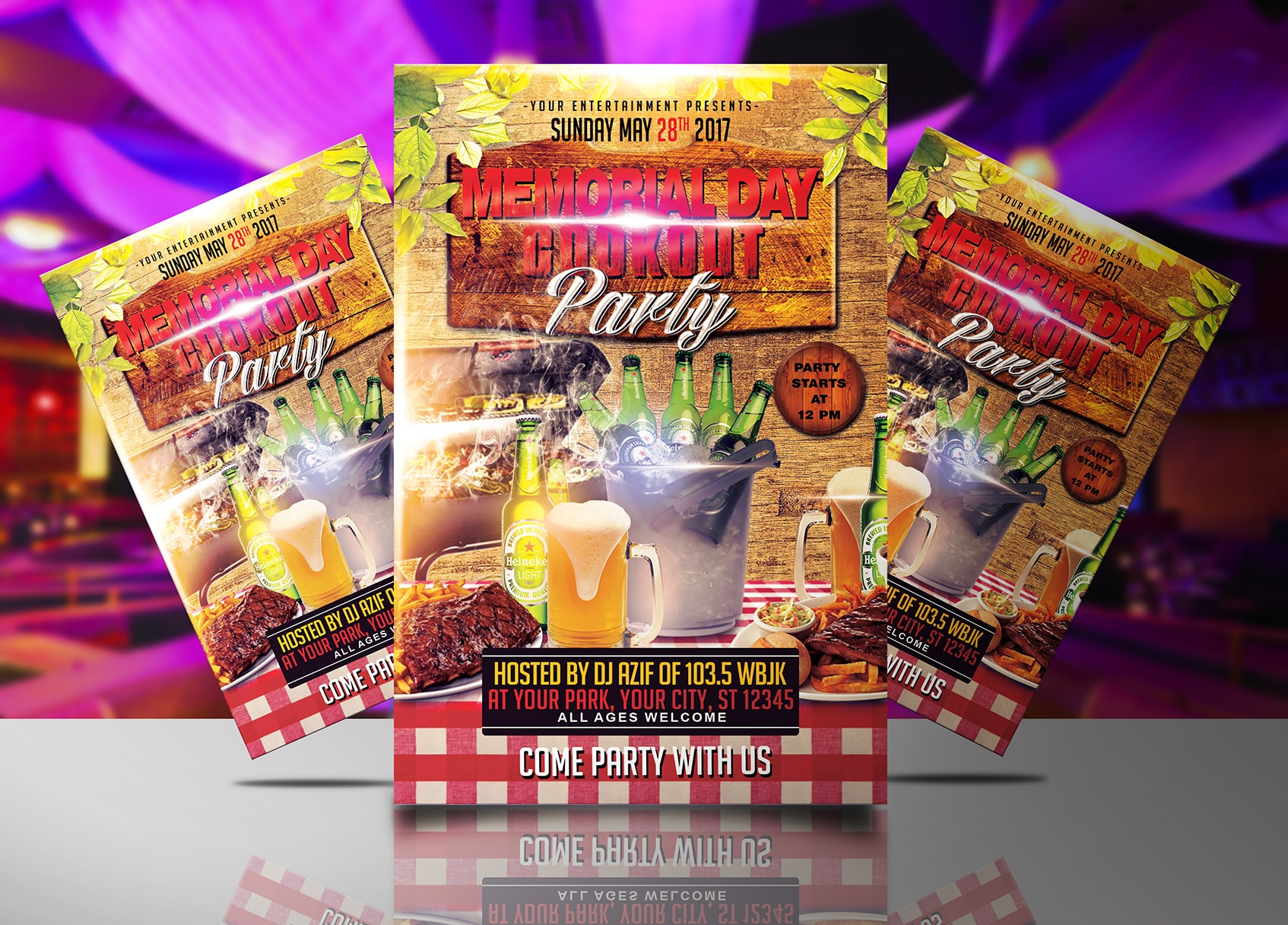 memorial day cookout flyer template