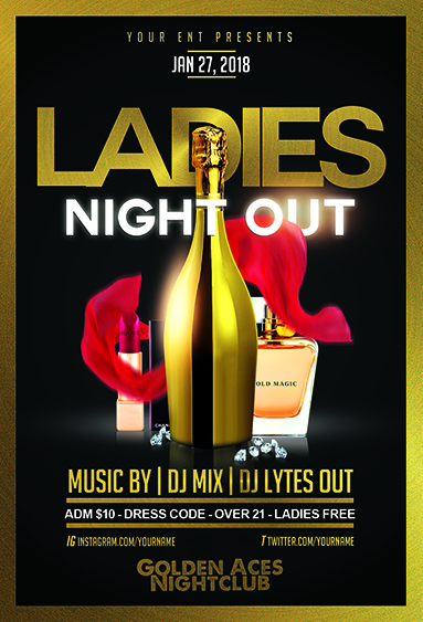 Ladies Night Out Gold Flyer Template Jaf Creative Studios
