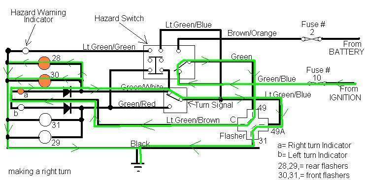wiring diagram 2 pin flasher unit 5 ohm (light green overlay in thefollowing drawing)