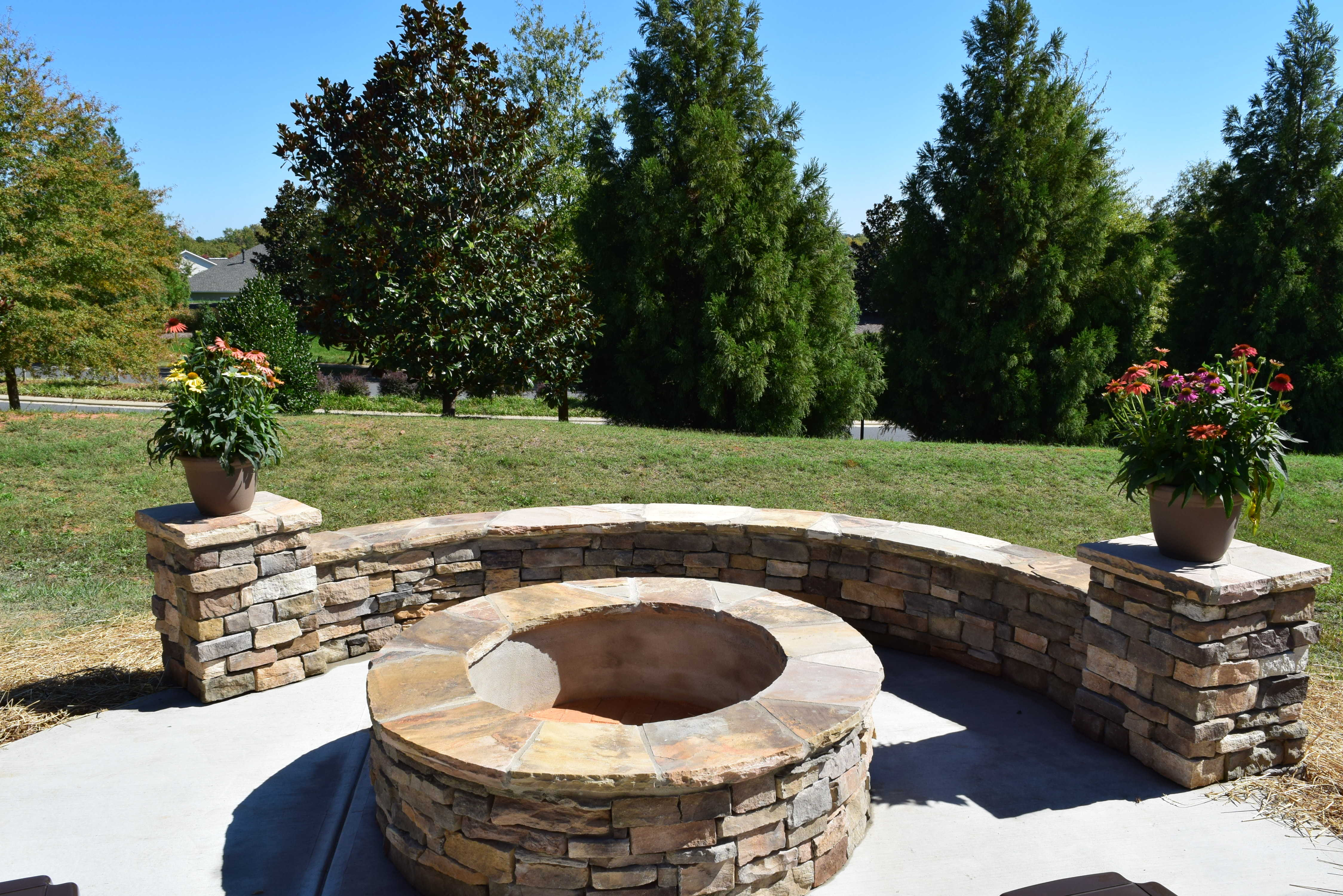 Charlotte Screen Porch  Patio with Stone Fire Pit  Lake Norman Mooresville area Screen Porch