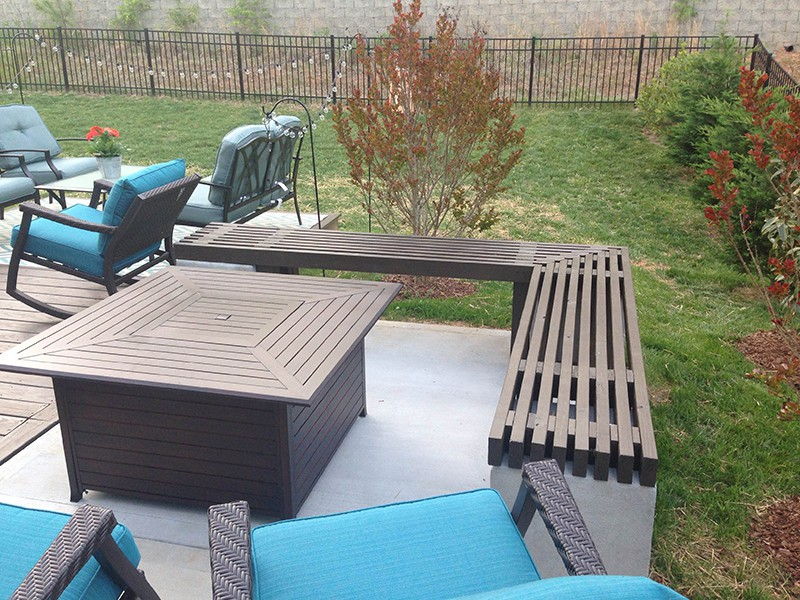 l shaped outdoor kitchen commercial exhaust system design charlotte, nc concrete patio and deck expansion project ...