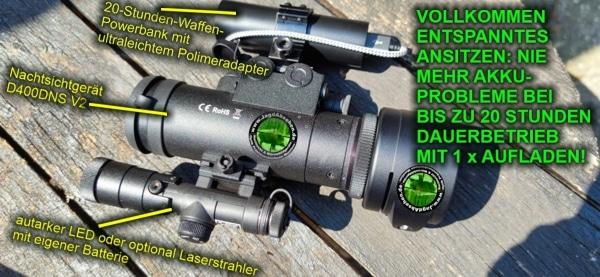 D400DNS-mit Waffenpowerbank SaftImWald5000-und IR-Strahler von Jagdabsehen