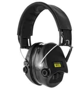 Gehörschutz Sordin PRO-X mit Gelkissen SCHWARZE Cups, schwarzem Lederband und LED bei Jagdabsehen