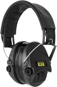 Gehörschutz Sordin PRO-X mit schwarzem Lederband, schwarzen Cups und Gelkissen bei Jagdabsehen 1