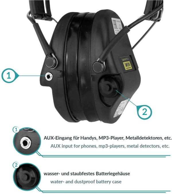 Gehörschutz Sordin PRO-X mit Gelkissen bei Jagdabsehen Anschlüsse