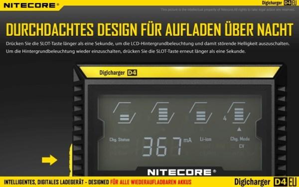Nitecore Digicharger D4EU - EU-Version Durchdachtes Design