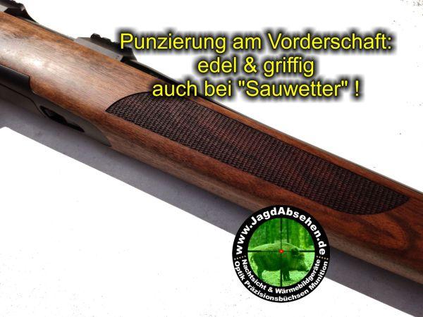 Punzierung am Vorderschaft der Lochschaft-Steelaction von Jagdabsehen - edel und griffig!