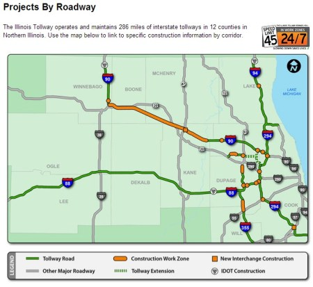 Map courtesy of the Illinoistollway website. Construction and planning/projects by roadway