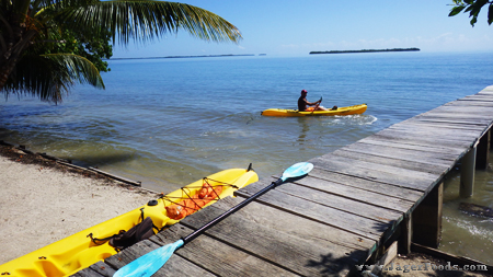 Ocean kayaks in the ocean in Belize