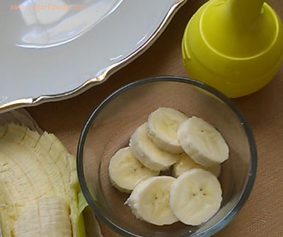 Banana slices for decoration a banana roll