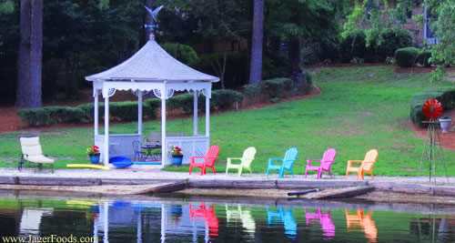 colorful deck chairs by a NC Lake