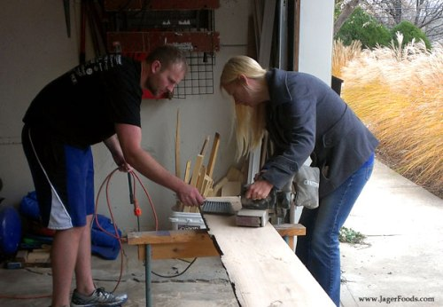 Sanding wood planks
