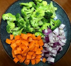 Diced vegetable for low carb recipe