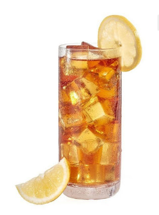 Iced black tea is very refreshing