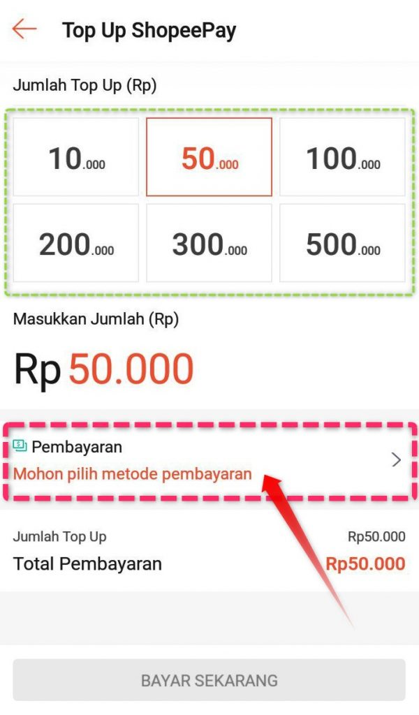 Jumlah Top Up Saldo Shopeepay