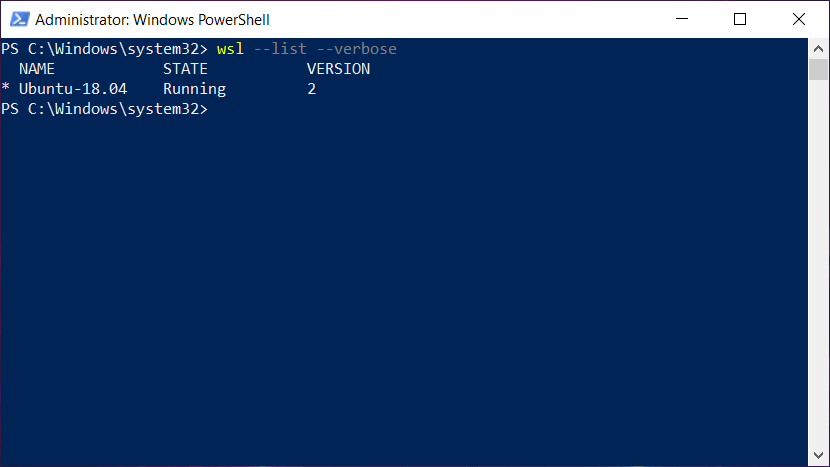 windows subsystem for linux version