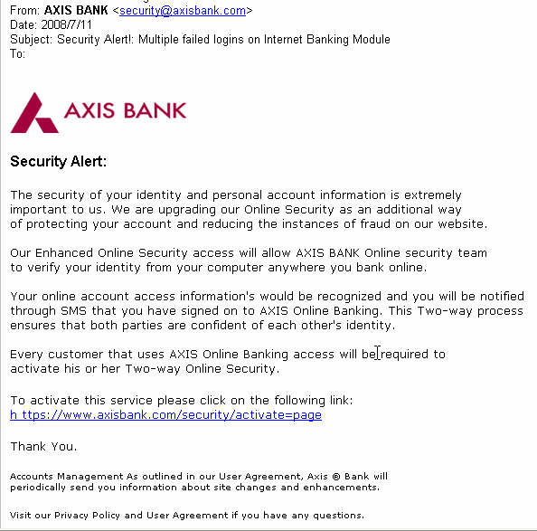 axis bank security alert mail