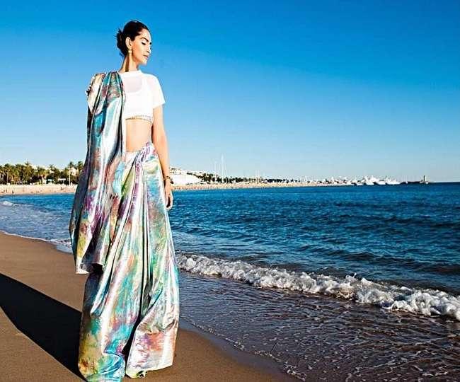 Cannes पहुंची फैशनिस्ता सोनम कपूर, तस्वीरों में देखिये उनका इंडियन-स्टाइलिश अवतार