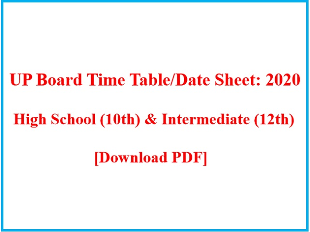 UP Board Time Table 2020: High School & Intermediate