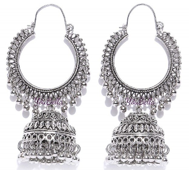 Silver jhumka for women