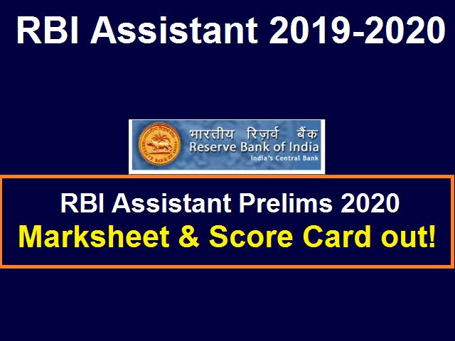 RBI Assistant Marksheet 2020