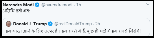 Trump's tweet in Hindi
